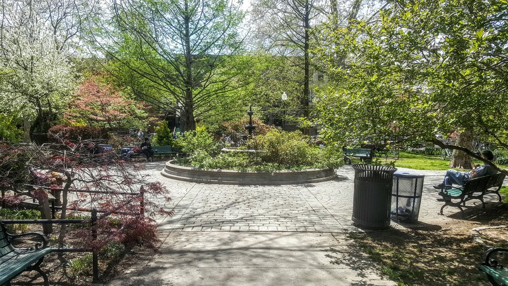 The fountain in Van Vorst Park.