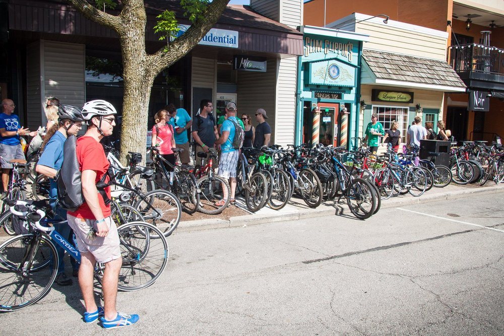 Bikes parked outside during Bike Peoria's Beers and Gears trail ride fundraiser in 2016.