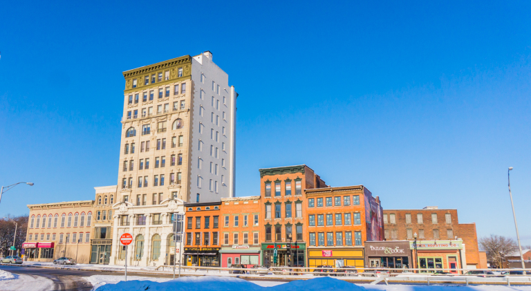 Utica's Bagg's Square, a long dormant urban canvas that has recently sprung to life with local business and residential development. Less than a half mile away, massive proposals for a downtown hospital and and an entertainment district featuring a casino are in the works.