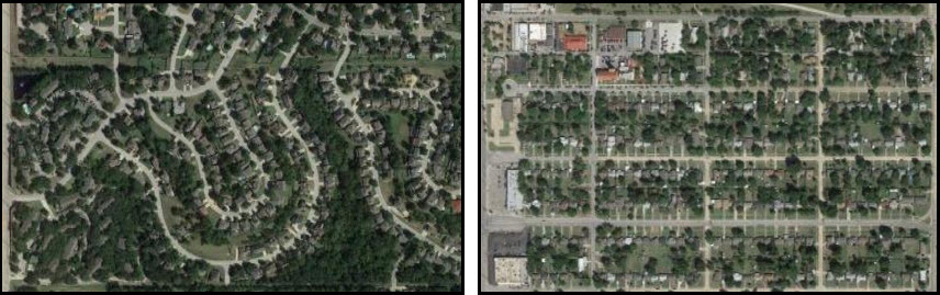 Two different neighborhoods, each with different problems. Which one looks easier to fix? (Photos: Google Maps)