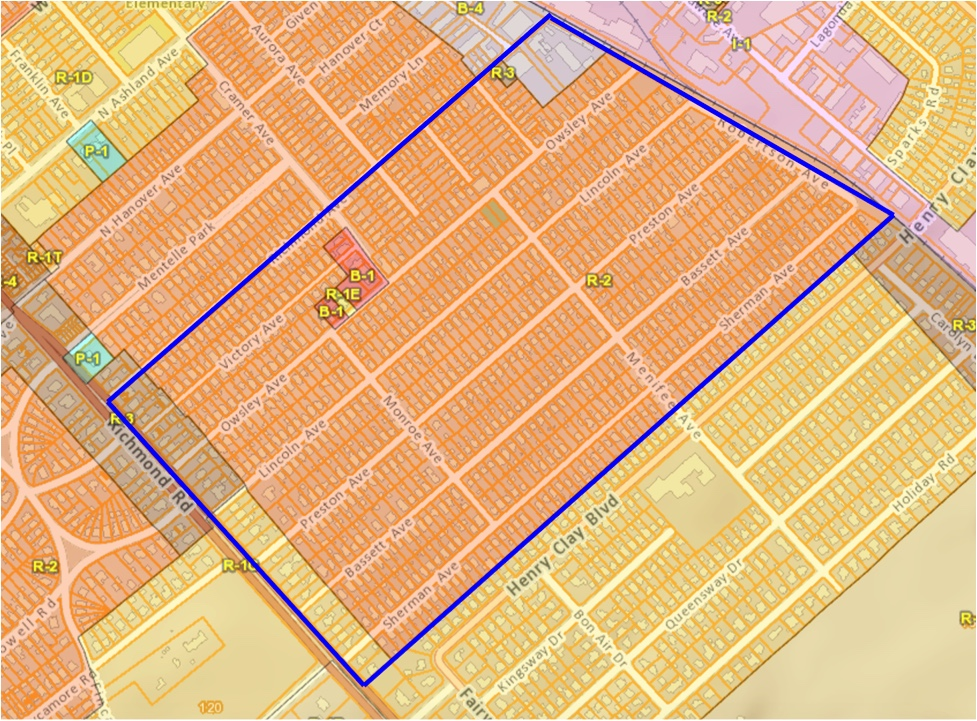 The zoning of Kenwick. R-1 mandates single-family homes, R-2 townhomes, R-3 limited multi-family housing, and B-1 limited commercial. The B-1 in the center is a limited carve out for Wilson's Grocery and neighboring parcels. Many other commercial uses are zoned R-2 and are non-conforming. (Source:  Lexington-Fayette Urban County Government.s Department of Geographic Information Systems )