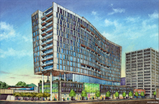 Rendering of the proposed development in Evanston, courtesy of Brian O'Neill