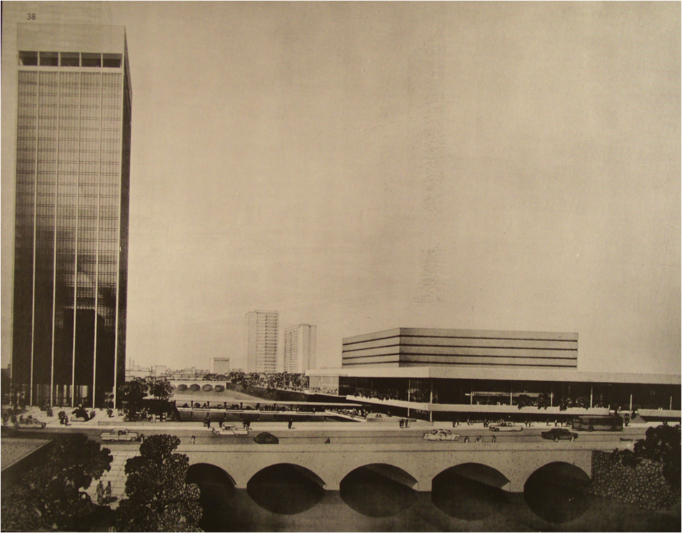 A rendering of downtown under the vision of the 1965 Genesee River Plan. The plan was never fully implemented, but many parts of it are visible today in the form of First Federal Plaza, Crossroads Park, and the Radisson.