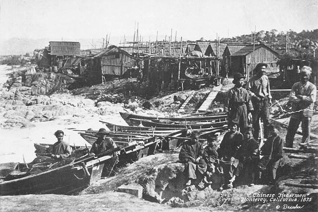 Chinese immigrant fishermen in Monterey, CA, 1875 (Source:  California Historical Society )