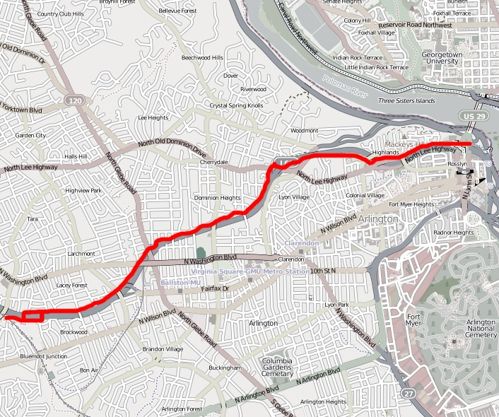 The Custis Trail is the red line , and I-66 is the thick grey line alongside it. VDOT plans to extend the Custis Trail along 66 out to Centreville. (Image by  OpenStreetMap  licensed under  Creative Commons .)
