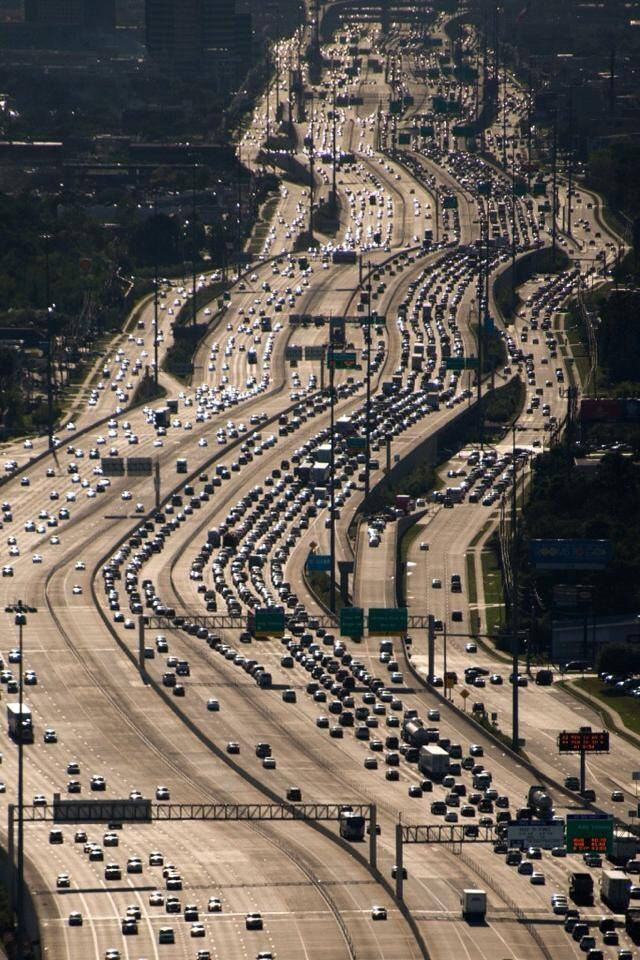 Adding lanes doesn't end congestion. Perhaps nothing makes this point better than the Kate Freeway in Houston. (Source:  Aliciak3yz )