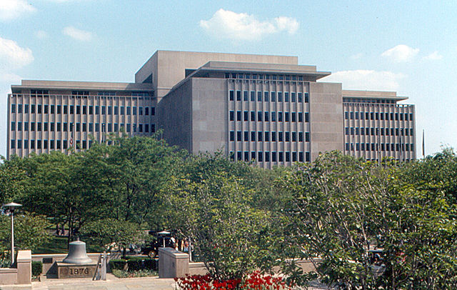 The enormous Caterpillar Administration Building in downtown Peoria (Source:  Roger Wollstadt )