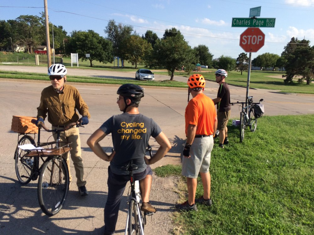 Cycling advocates perform site visits and offer input on street design plans in Tulsa, OK.  (Photo by Sarah Kobos)