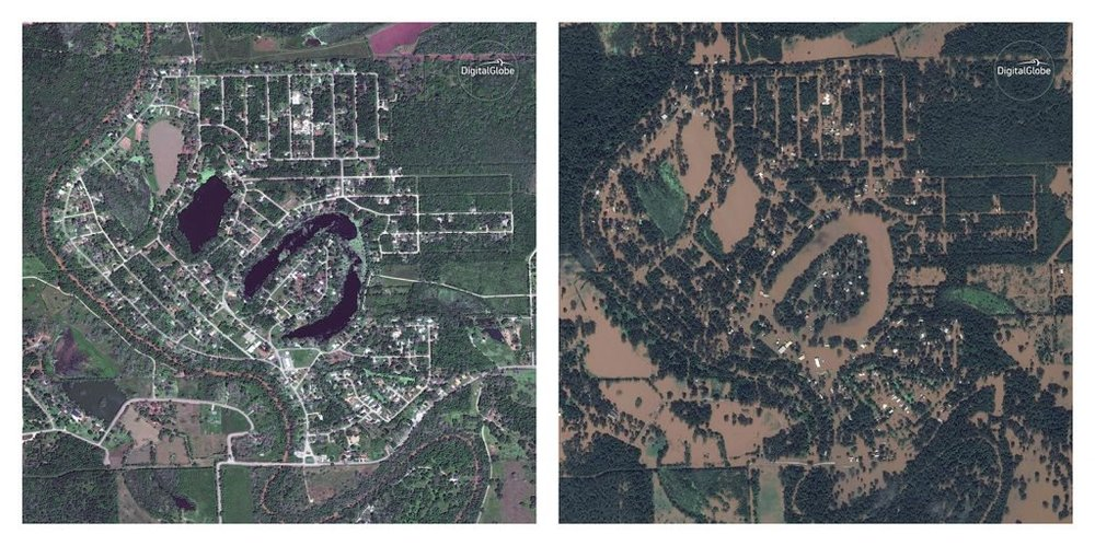 Holiday Lakes, Texas on April 3, 2017 (left) and August 30, 2017 (right) after Hurricane Harvey. (Photo credit: 2017 Digitalglobe via EP)