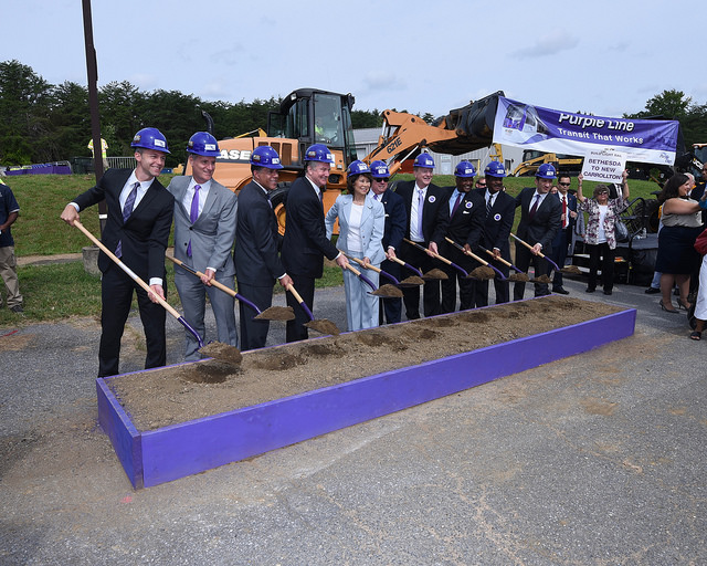 A celebratory opening for the Purple Line project, with requisite politicians in hard hats and shovels. (Source: Maryland GovPics)
