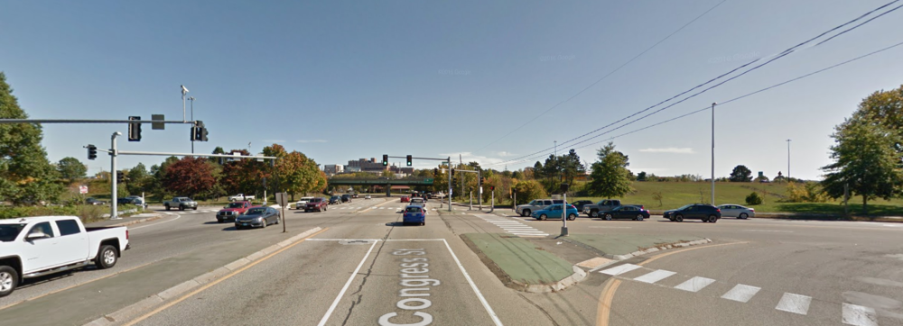 You can just make out the Portland downtown on the other side of the highway bridge. (Source: Google Maps)