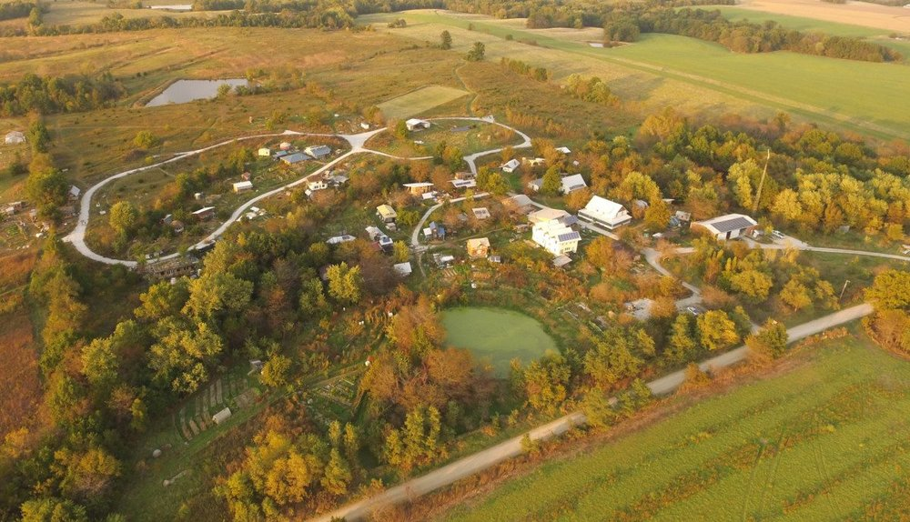 Birds-eye view of the ecovillage (Source: Dancing Rabbit Facebook page)