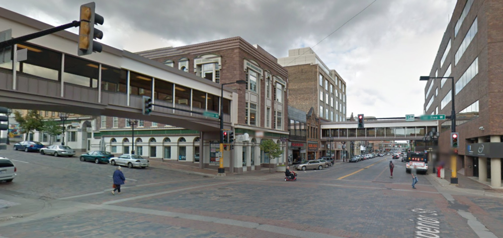 Here's what Superior Street looks like now. Notice the many different modes of transportation (wheelchair, bus, skateboard, feet) in use in just this one image. (Source: Google Maps)
