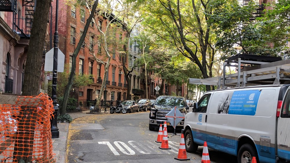 A streetscape without setbacks in West Village, New York.