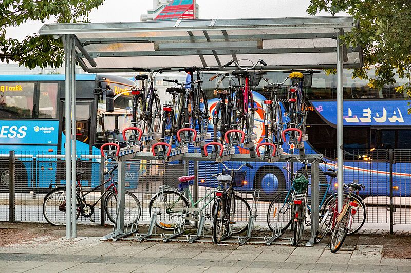 This bike rack fits a ton of bikes into a small space and protects them from the elements. Ace! (Source: Tony Webster)