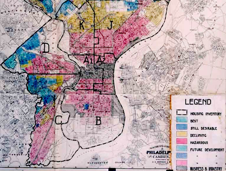 A redlining map of Philadelphia used by the federal Home Owners' Loan Corporation. (Source: Wikipedia)