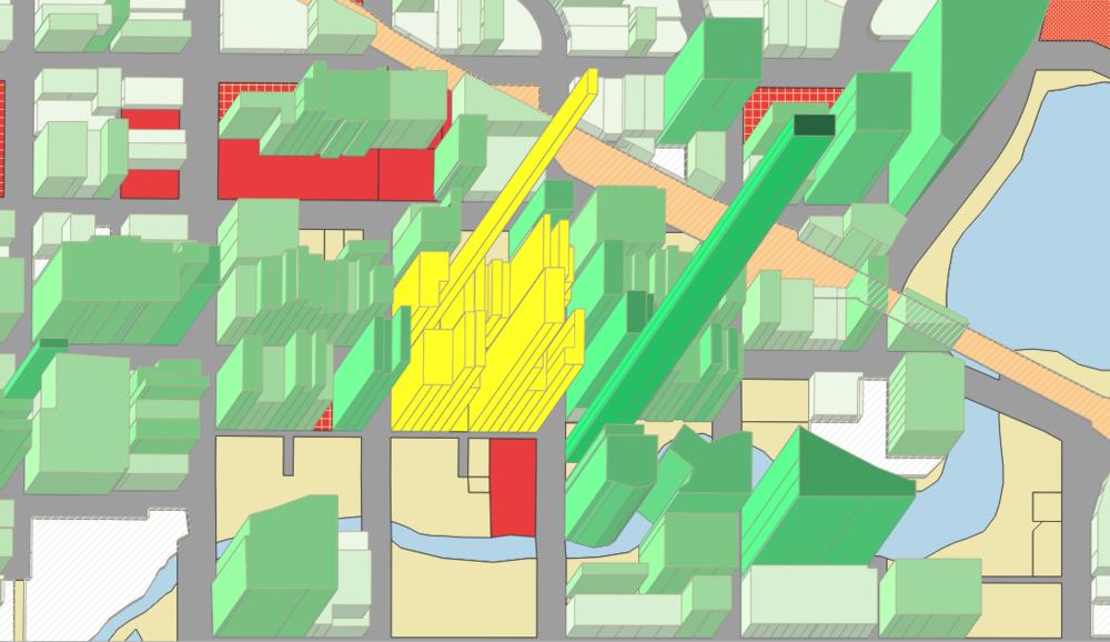 1 downtown block (in yellow)