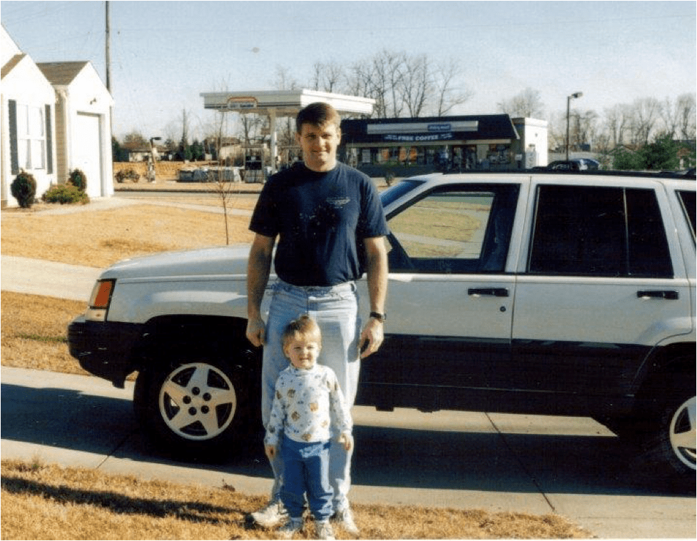 My dad and I at our first Lexington house near the Lexington Ice Center.  This is about as far from urban as it gets, but it got us into the city.