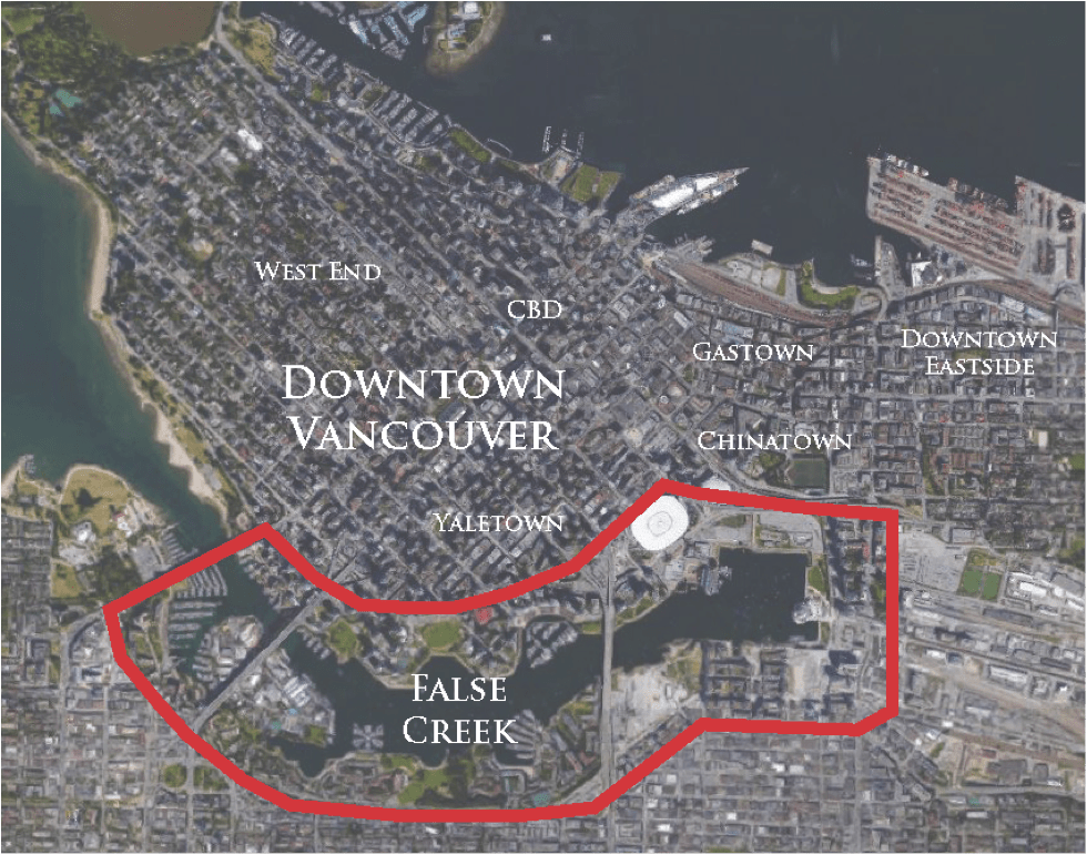 Downtown Vancouver with False Creek highlighted in red.