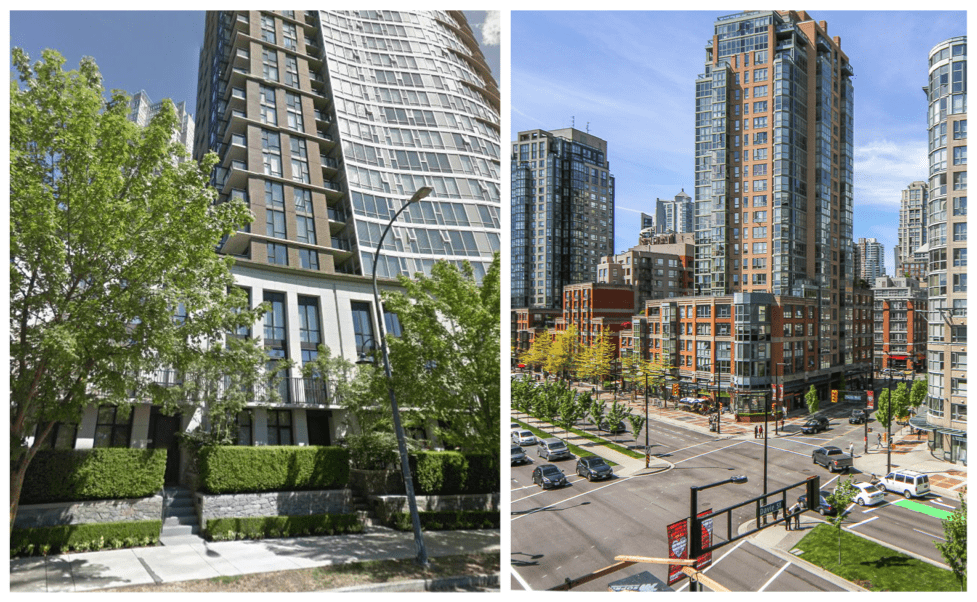 "The Vancouver ""podium & tower"" building type.  Left: residential version.  Right: mixed-use version (Image source:  Residencity )."