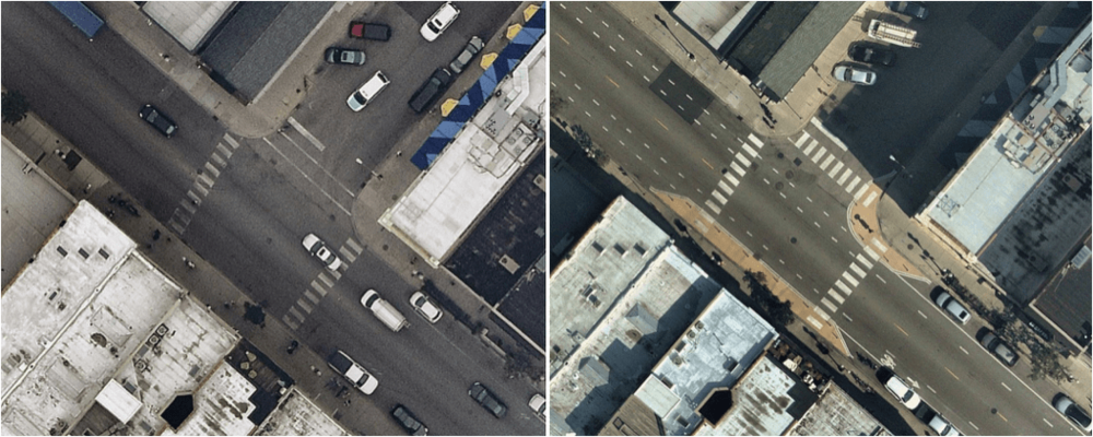 Intersection of Milwaukee & Honore before reconfiguration (left) and after (right). (Source: Nearmap.)