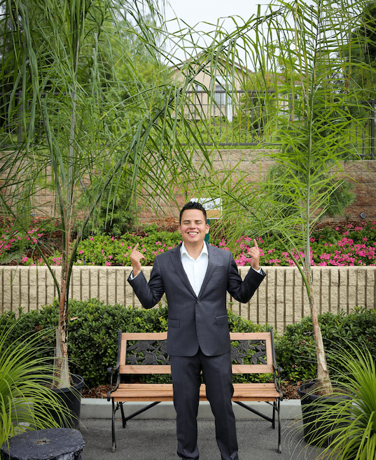 Andrew Rodriguez in his pocket park
