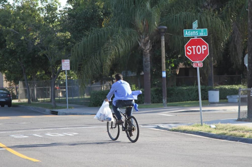 Vehicular cyclists advocate biking directly in the street with cars, even on fast-moving roads. (Source: Johnny Sanphillippo)