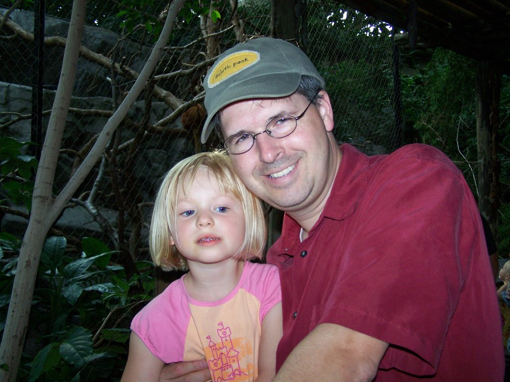 Chuck with daughter Chloe on vacation in San Diego, 2008.