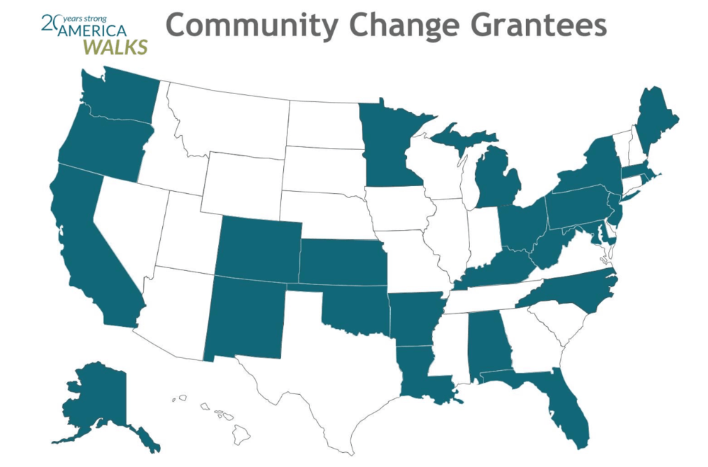 Towns in over 20 states (in blue) received Community Change Grants from America Walks this year.