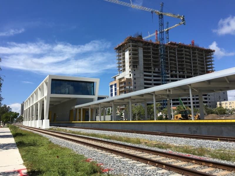 Brightline All Aboard station and Park-Line apartments in West Palm Beach, Florida. (Source:  Phillip Pessar )