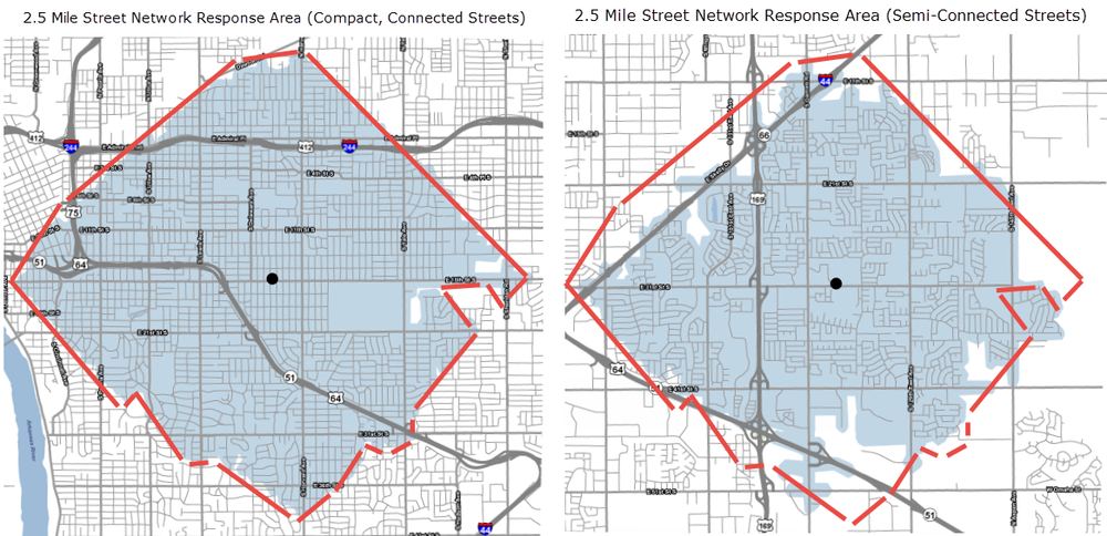 Comparison of fire station service areas within a 2.5-mile drive.  Service area maps created by Daniel Jeffries.