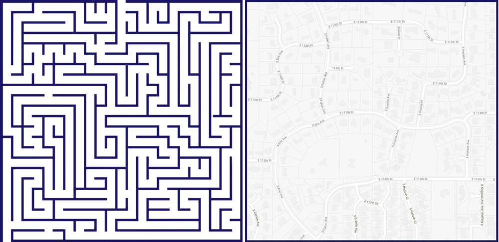 At least one of these is fun.  When subdivision regulations don't require connected streets, it's hard to get from place to place.