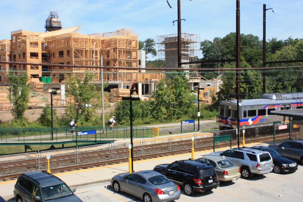 Private development under construction benefits from the nearby public rail station (Source: Montgomery County Planning Commission