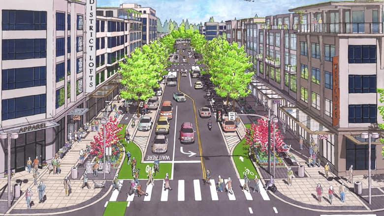 A Complete Street design with designated spaces for bike users, cars, pedestrians and transit (Source: Crandall Arambula)
