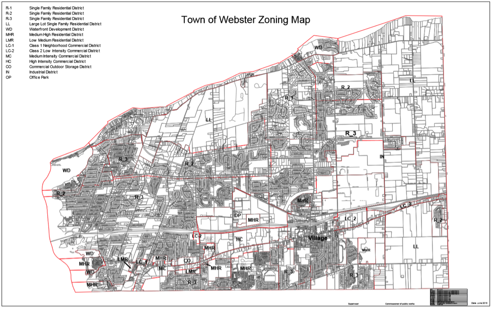 A typical suburban zoning map.  Click to view larger.  Notice the separation of uses, homogenous, car-dependent development patterns, and disconnected street network. No doubt this town faces congestion issues and a bloated highway department budget. Yet, this is the only type of development allowed by law.
