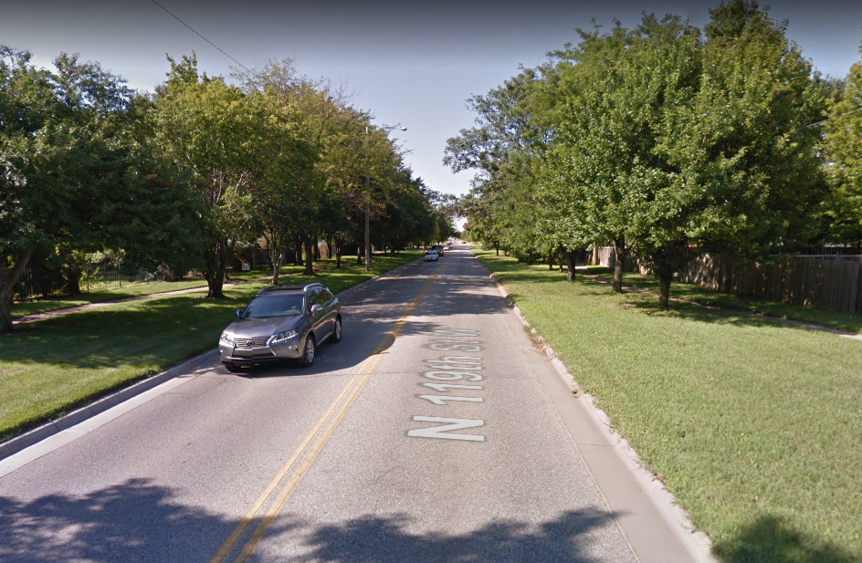 Street safety is a visible quality, easy to intuitively register. Here, the segment of 119th Street between 13th and 21st features a narrow, two-lane configuration with trees close to the curbs and fences providing defined edges. Drivers travel much slower here as a result. (Source: Google Maps)