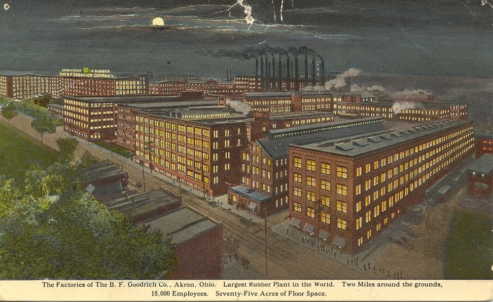 An illustration of the B.F. Goodrich rubber plant in Akron, Ohio (Source:  Miami University Libraries - Digital Collections )