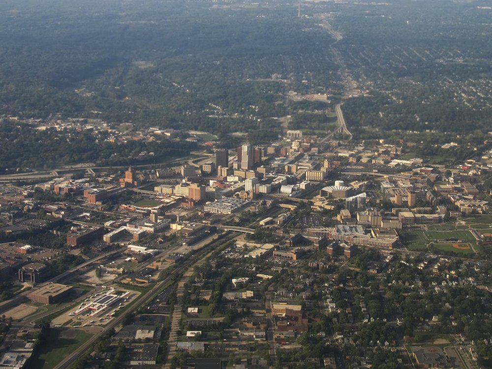 Today, Akron must contend with infrastructure built for a far larger population than the city currently has. Hard choices are on the horizon. (Source: Ken Lund)