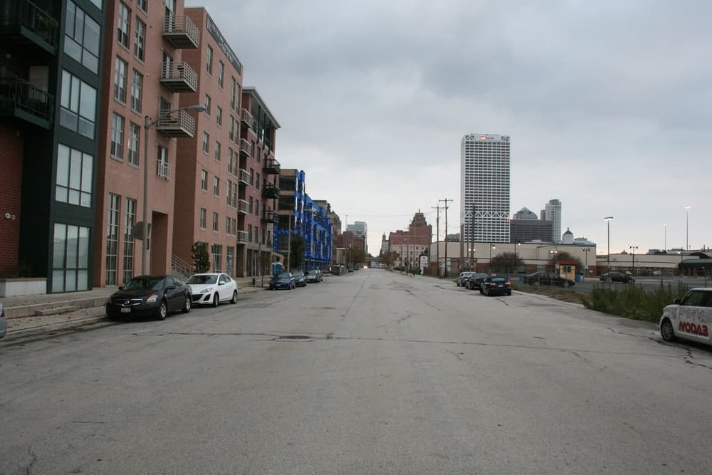 Many Milwaukee streets are far wider than they need to be, which encourages cars to drive fast and makes life as a pedestrian dangerous. (Source: Jeramey Janene)