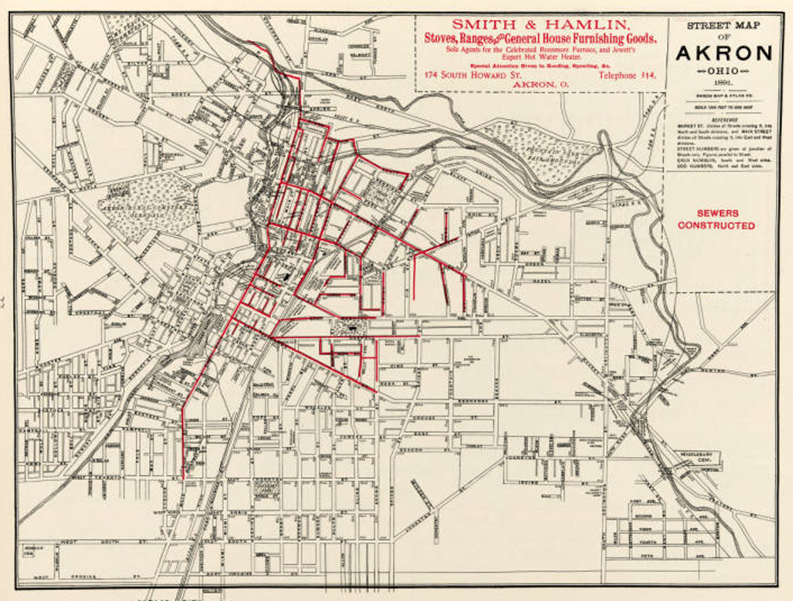 By 1891, Akron had reached a substantial size. But as the red lines show, sewer lines had only been extended to a portion of the city. There was a lot more money to be spent, even then. (ASCPL - Summit Memory. Click to view larger.)