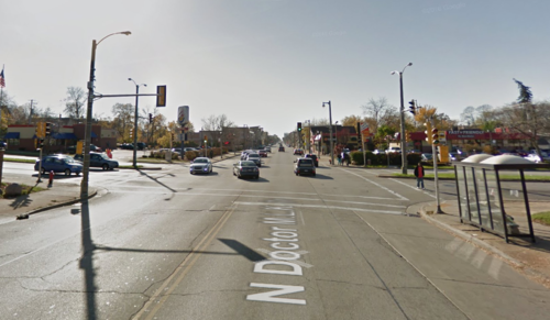 Dr. Martin Luther King on the north side of Milwaukee. A typical dangerous street, too wide to be safe.
