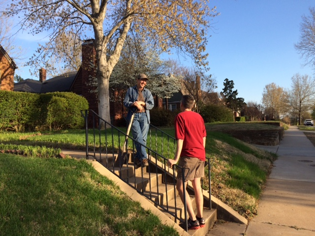 Doing your own yard work creates opportunities for casual conversations with neighbors. (Photo by Sarah Kobos)