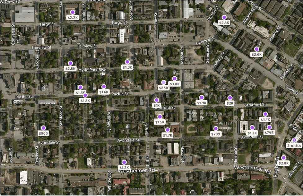 In this neighborhood a mere 1.5 miles from the economic opportunities of downtown Houston, a modest one-bedroom apartment goes for $799 just one block from a luxury three-bedroom apartment going for $3,800. In a place like northern New Jersey, those prices would only be possible with considerable subsidies.