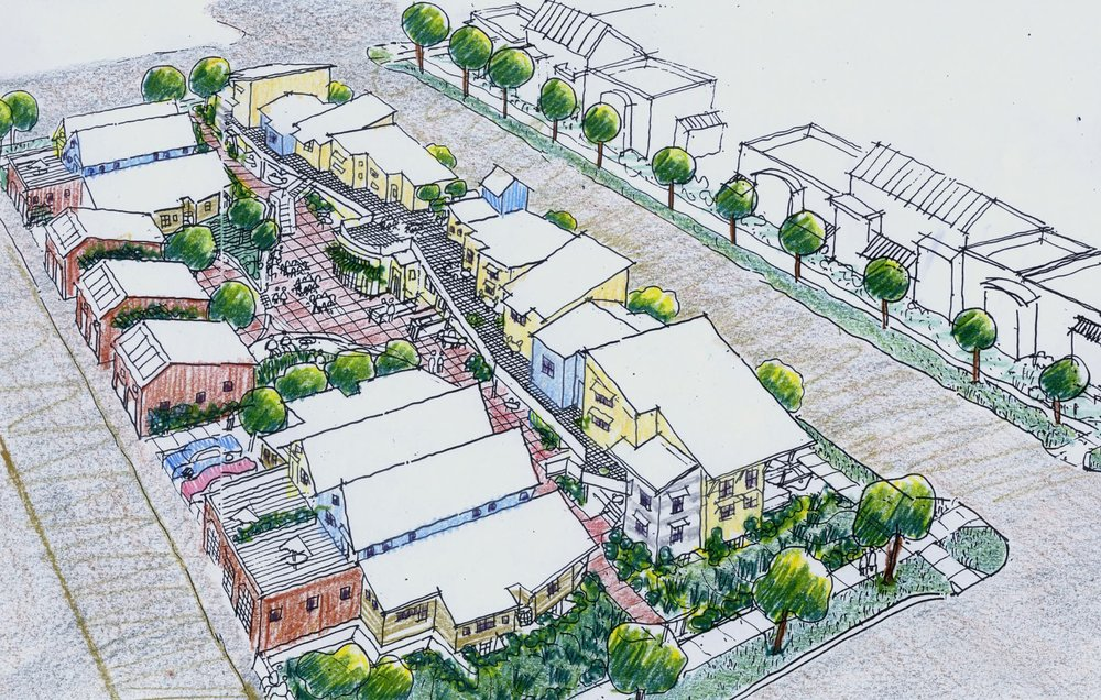 A sketch of a cohousing community in Boulder, CO (Source: cohousing.org)