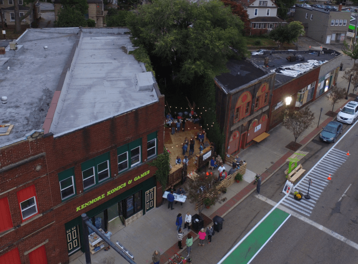 A vacant space between two buildings became a temporary beer garden during Better Block with the simple addition of some seating, lights and basic landscaping.