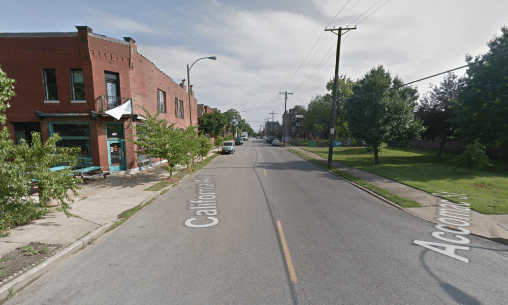 Cars often pick up speed driving along this north-south stretch with no stop sign, which creates a dangerous situation for the many people trying to cross to get to the restaurant on the west side of the street. (Source: Google Maps)
