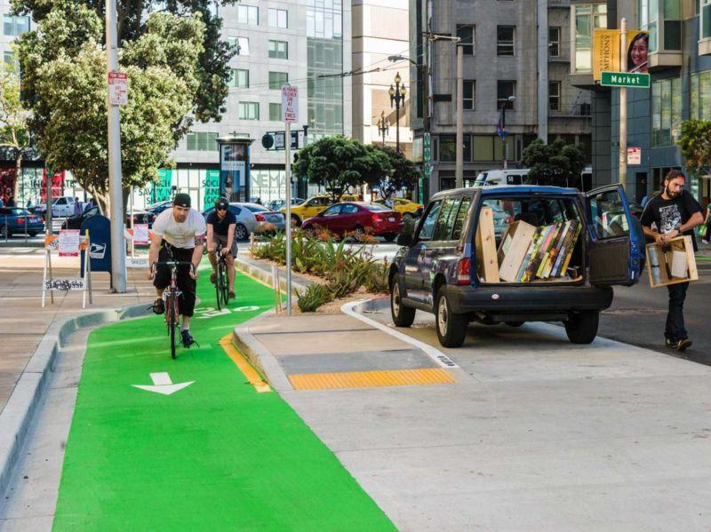 Bike lanes on Market St have made San Francisco far more bike-friendly.