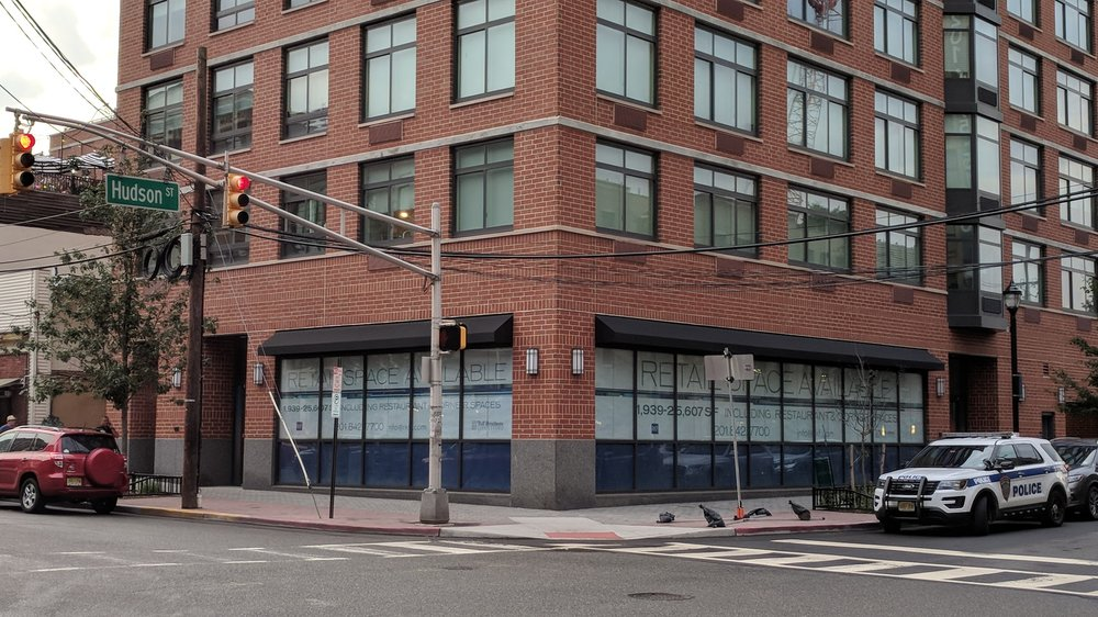 A new building in Hoboken with the ground floor retail (2,000 to 25,000 square feet) sitting vacant.