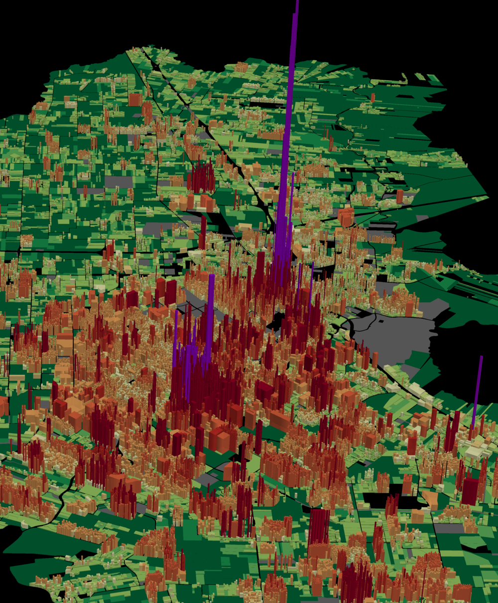 This map displays value per acre in Lafayette. Areas indicated by purple spikes contribute the most to the tax base. Green plateaus, including farms and non-development, contribute the least. (Source: Urban3)