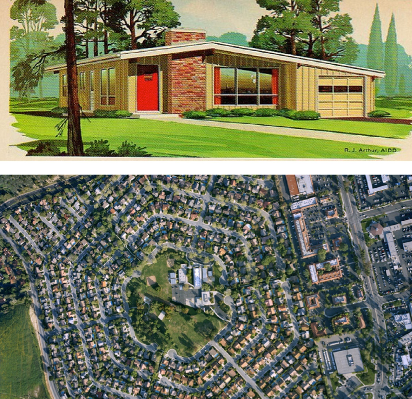 "A Ranch Style home advertisement in contrast to the type of site it was often installed into. Note the enforced separation of housing space from urban amenities. (Top Image: Garlinghouse Catalog: ""130 Plans for New Homes"", Acquired from  Flickr.  Bottom Image: Christoph Gielen, Deer Crest V, Suburban California, 2008, Acquired from  Colby.edu. )"